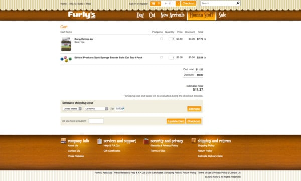 Furly's checkout cart and process