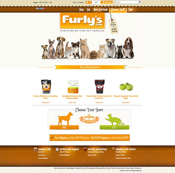 Furly's website case study pet store home page